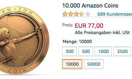 Amazon Coins im Angebot: 10.000 für 77€ (23% Rabatt)