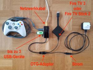Anschluss von USB-Geräten und Kabel-Netzwerk ans Fire TV 3 oder den Fire TV Stick 2 - mit Hilfe des uGreen USB-LAN-Adapters