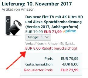 Der 8€ Cyber Monday Gutschein wird automatisch Eurer Bestellung gutgeschrieben - das Fire TV 3 würde dann bspw. nur 71,99€ kosten