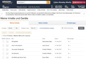 """Die Startseite der Amazon Inhalte und Geräteverwaltung. Einfach oben in der Mitte auf """"Meine Geräte"""" klicken"""