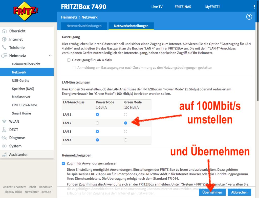 Fritz!Box Netzwerk-Port auf 100MBit drosseln, damit Gigabit-USB-LAN-Adapter ordentlich auf Fire TV 3 & Stick 2 funktionieren
