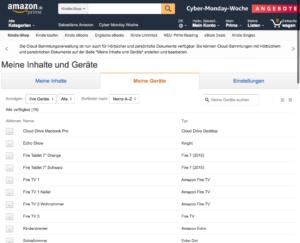 Geräteverwaltung bei Amazon Inhalte und Geräte