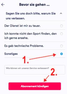 Kündigung des Eurosport Player Abos durch Beantworten der Frage und klick auf Abonnement kündigen bestätigen