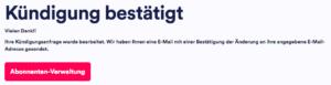 Kündigungsbestätigung des Eurosport Player Abonnements auf der Eurosport Player Webseite