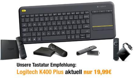 Nur 19,99€: Logitech K400 Plus USB Funktastatur in Schwarz kompatibel mit Fire TV