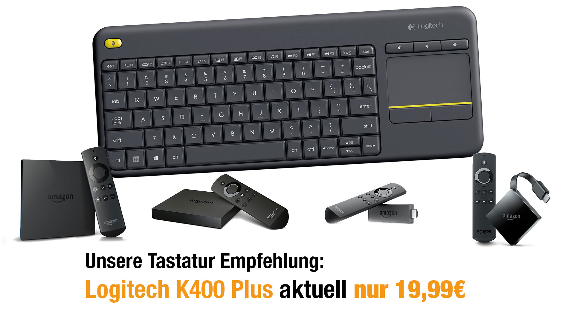 Nur 19,99€: Logitech K400 Plus USB Funktastatur in Schwarz