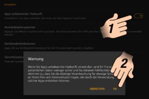 Apps unbekannter Herkunft aktvieren und Meldung mit OK bestätigen