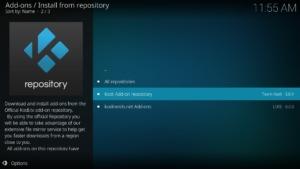 Ggf. müsst Ihr nun noch das Kodi Add-on repository auswählen
