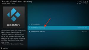 """Kodi Add-on repository"" auswählen"