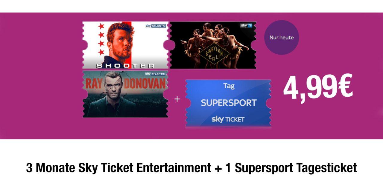 Deal: 3 Monate Sky Ticket Entertainment + 1 Supersport Tagesticket für 4,99€