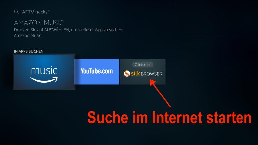 Auf dem Fire TV eine beliebige Suche im Internet starten, indem Ihr den Silk Browser auswählt