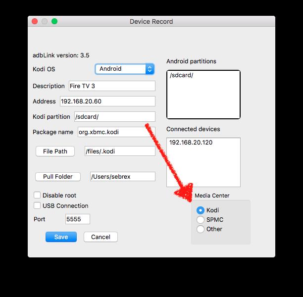 Bei der Gerätekonfiguration von adbLink bei Media Center Kodi auswählen, nicht SPMC