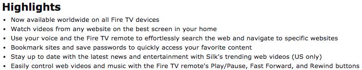 Die Highlights vom Amazon Silk Browser sind nicht ganz so offensiv formuliert. Aber mit Watch videos from any webseite on the best screen in your home wieder einiges an Öl ins Feuer gegossen