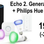 Echo 2. Generation + Hue Bridge + Dimmer + 3x RGB-Birnen: 199€