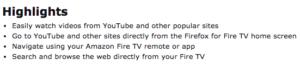 Highlights des Mozilla Firefox Internetbrowsers fürs Fire TV: YouTube gleich an erster und zweiter Stelle