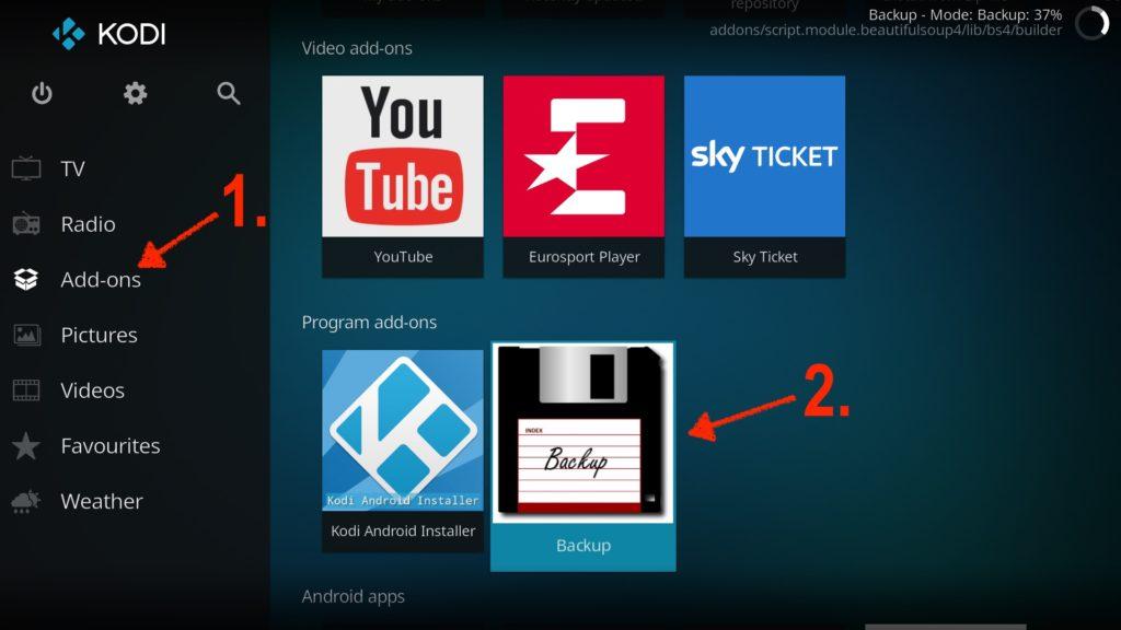 Im Kodi Add-Ons Hauptmenü findet Ihr unter Program add-ons nun das Backup-Addon