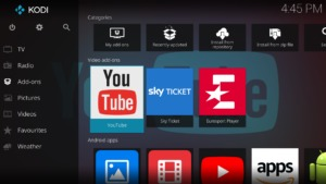 Im Kodi Hauptmenü geht Ihr auf den Eintrag Add-ons und markiert den YouTube-Eintrag