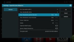 In den Input Stream-Adaptive Einstellungen stellt Ihr sicher, dass Ihr bei Max. Resolution general decoder & secure decoder entweder auf Max eingestellt habt, oder auf 1080p