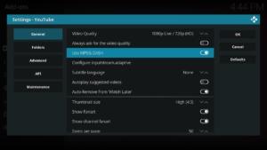 In den YouTube-Settings aktiviert Ihr Use MPEG-DASH und klickt anschließend auf Configure inputstream-adaptive