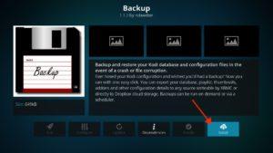"""Kodi Backup installieren durch Klick auf """"Install"""""""