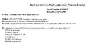 Patentanmeldung von Amazon Tube vom 05.12.2017