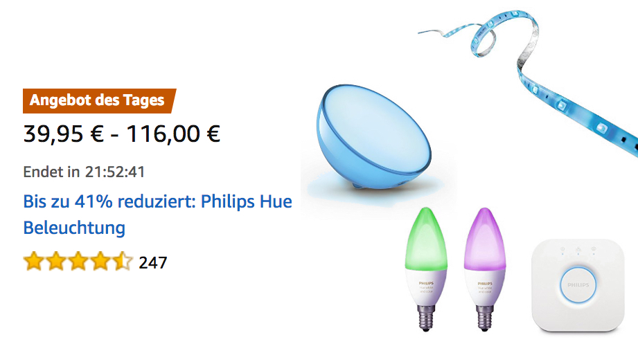 philips hue lampen schalter bewegungsmelder heute im angebot bei den amazon last minute deals. Black Bedroom Furniture Sets. Home Design Ideas