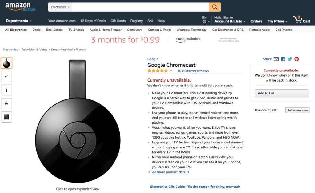 Die Produktdetailseite vom Google Chromecast seit gestern wieder auf Amazon.com abrufbar - Vorbestellen geht noch nicht.