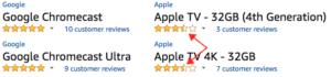 Reviews für Google Chromecast & Apple TV sind seit gestern wieder amazon.com möglich: Chromecast haben beide 5 Sterne - Apple TVs beide 3,5