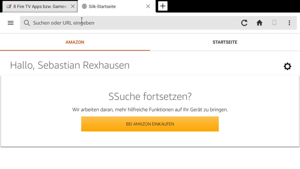 Selbst die Amazon Silk Startseite enthält noch Fehler