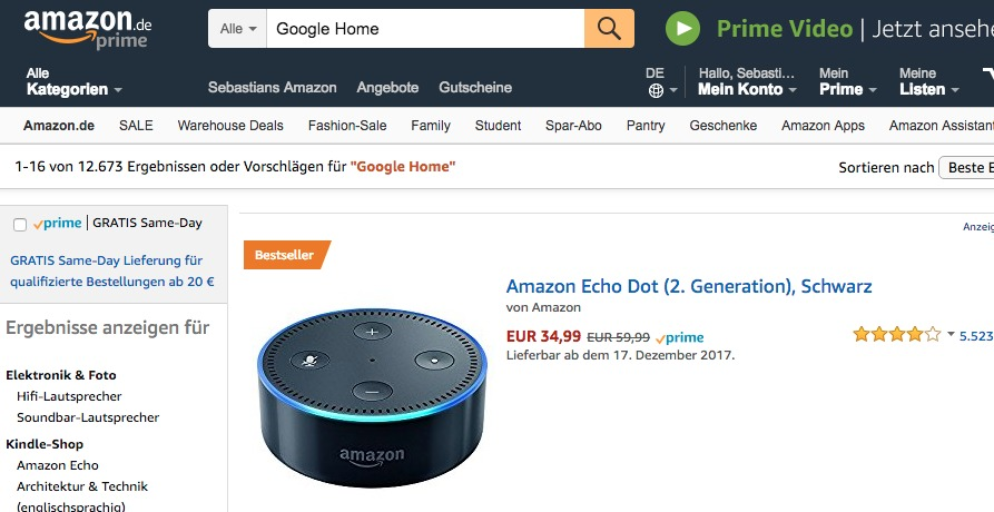 Wenn man auf Amazon nach Google Home sucht, wird einem der Echo Dot als Ergebnis geliefert. Der Google Home ist nicht in Amazons Sortiment