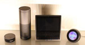 Amazon Echo, Echo Dot, Echo Show und Echo Spot auf einem Bild