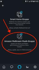 Anschließend klickt Ihr auf Amazon Multiroom Musik-Gruppe, um eine neue Multiroom-Gruppe anzulegen