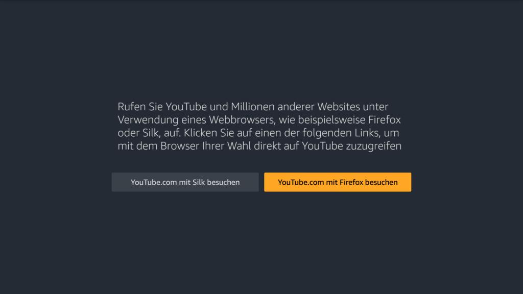 Nun werdet Ihr gefragt, mit welchem Browser Ihr YouTube öffnen wollt - wir empfehlen Firefox