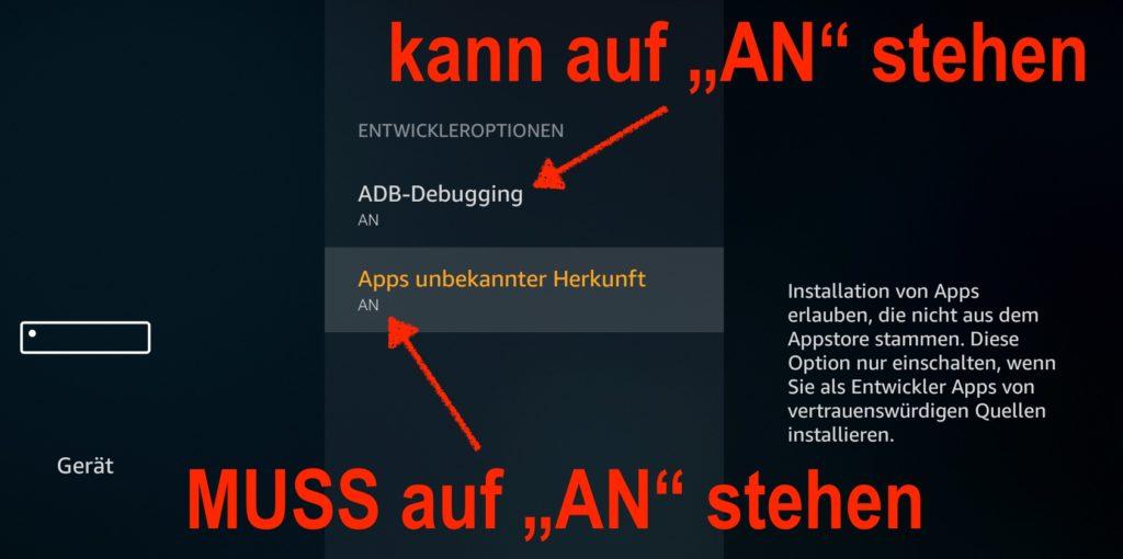 Apps unbekannter Herkunft muss auf AN stehen