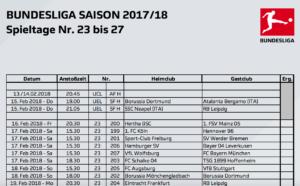 Die DFL setzt die Bundesliga-Spieltage 23. bis einschließlich 27. genau an. Erstmals nun auch Montags-Spiele - diese werden nur im Eurosport Player übertragen