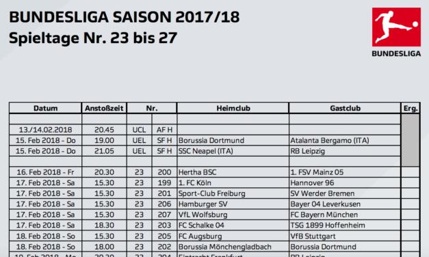 Bundesliga Spieltage 23. bis 27. terminiert: 9 Spiele in 5 Wochen im Eurosport Player – erstmals auch Montags-Spiele