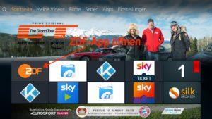 Die ZDFmediathek-App erscheint nach ein paar Sekunden ganz links im Aktuell-Bereich auf der Fire TV Startseite