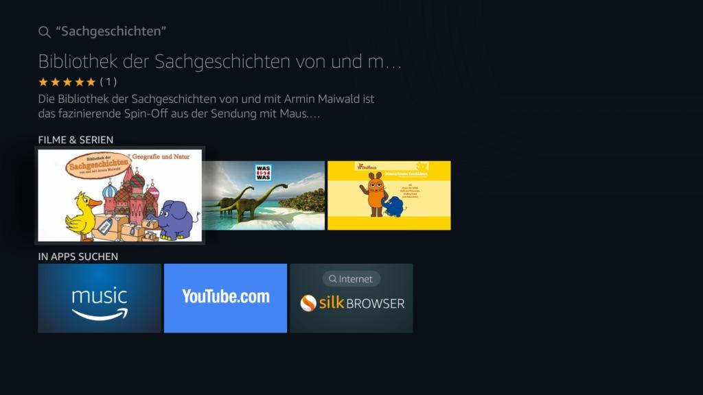 Einfach mit der normalen Fire TV Suchfunktion nach einem beliebigen Begriff suchen, das geht auch mit der Alexa-Sprachsuche