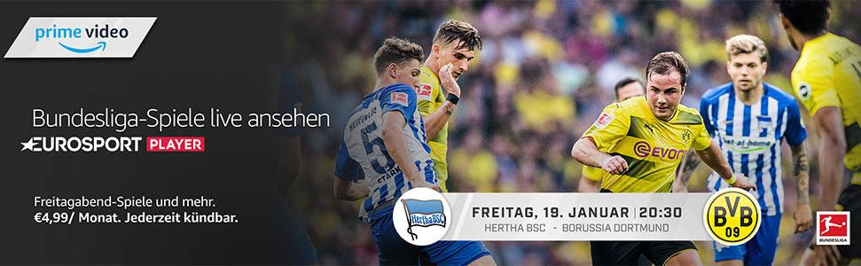 Heute Abend im Eurosport Player schauen - Herta BSC gegen Borussia Dortmund - mit den Amazon Channels für nur 5€