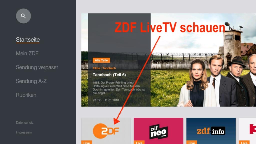 """In der ZDF-App angekommen geht bei """"Startseite"""" einmal nach rechts und einmal nach unten, um ZDF Live auszuwählen. Anschließend startet der Live-Stream"""