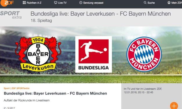 Heute Abend Bundesliga kostenlos schauen: Bayer Leverkusen:Bayern München (via ZDF App)