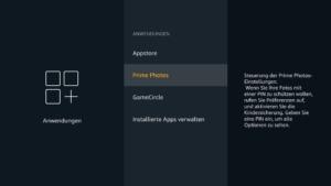 Im Anwendungen-Menü klickt Ihr zunächst auf Prime Photos, um das Verhalten zu konfigurieren.