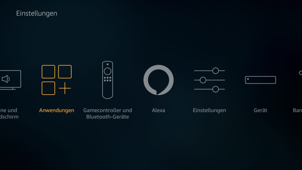 """Nun im Fire TV Hauptmeüpunkt """"Einstellungen"""" auf den Punkt """"Anwendungen"""" klicken"""