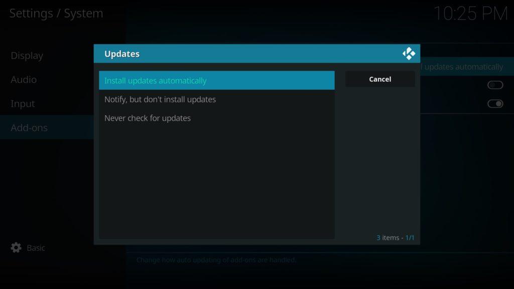 In den Kodi Settings könnt Ihr festlegen, ob Kodi Add-ons automatisch aktualisiert werden sollen