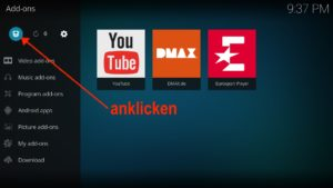 Oben links auf den Add-on browser klicken