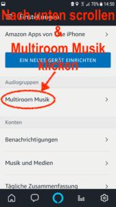 Scrollt nun so lange nach unten bis Ihr den Abschnitt Audiogruppen seht und klickt dort auf Multiroom Musik
