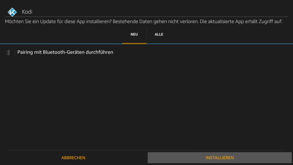 """So sieht der APK-Installations-Dialog auf FireOS5 aus (alles bis auf Fire TV 3). Einfach unten rechts auf """"INSTALLIEREN"""" klicken"""