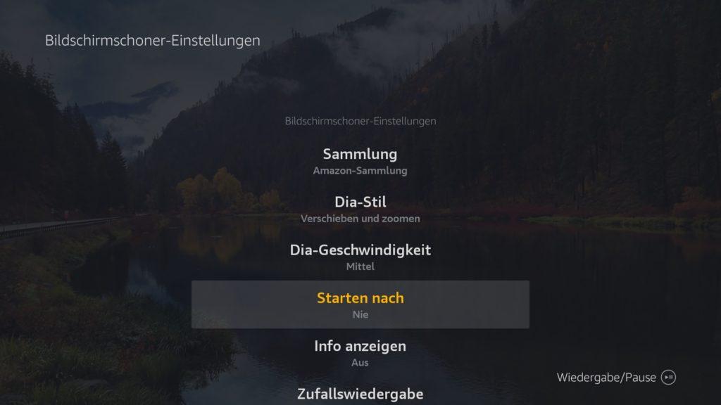 """Ab Firmware 5.2.6.1 sieht der """"Bildschirmschoner-Einstellungen""""-Dialog so aus. Einfach auf """"Starten nach"""" klicken und """"Nie"""" auswählen."""