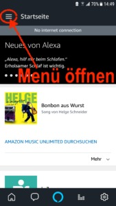 Startseite der Amazon Alexa App, klickt einfach oben links auf die drei Balken, um das Hauptmenü zu öffnen