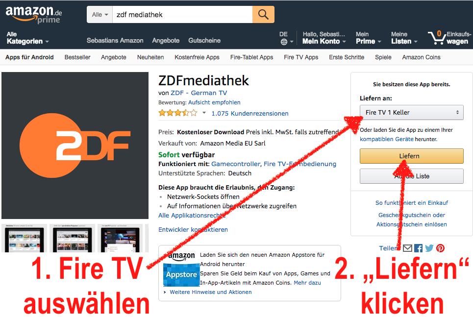 ZDFmediathek-App fürs Fire TV kostenlos bei Amazon beziehen - einfach über die Amazon-Webseite liefern lassen